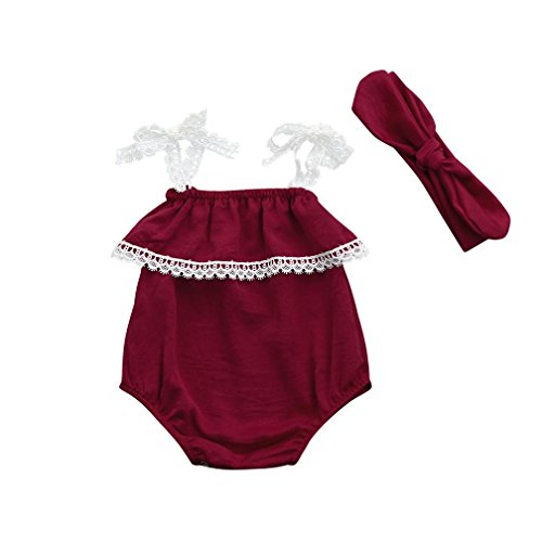 Fartido Romper Baby Girl Solid Lace Strap Jumpsuit + Headband Set Clothes ()