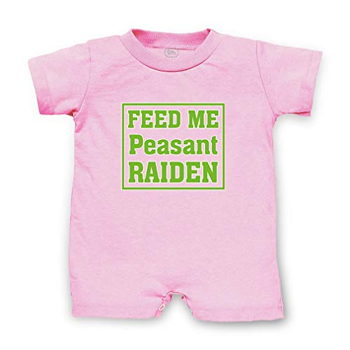 Feed Me Peasant Raiden Short Sleeve Taped Neck Boys-Girls Cotton Infant Romper Jersey Tee - Soft Pink, 18 Months