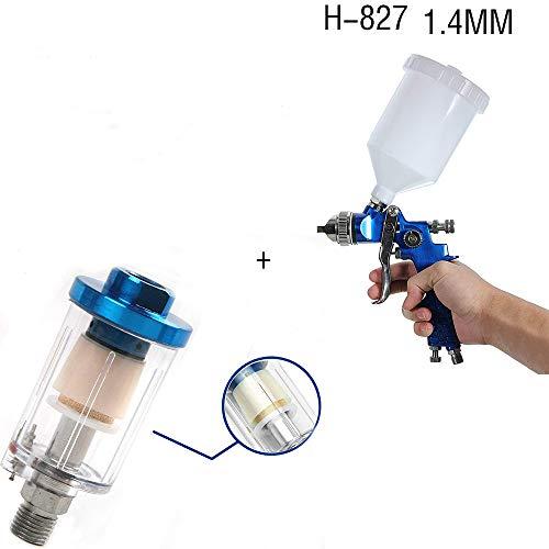 KingBra Air Oil Water Separator Trap Filter Seperator Air Compressor Filter for Spray Gun Air Tools Air Line+HVLP Spray Gun with 1.4 mm Tip for Base Coats, Metallic Paint, Whole Car Spraying