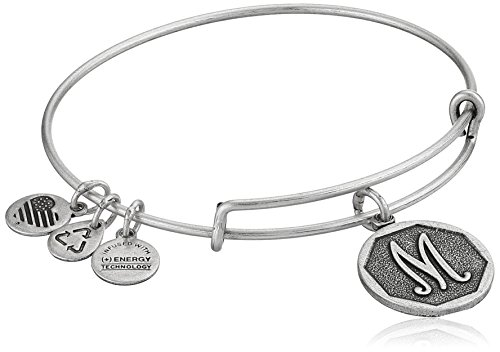 "Alex and Ani Rafaelian Silver-Tone Initial ""M"" Expandable Wire Bangle Bracelet, 2.5"" from Alex and Ani"