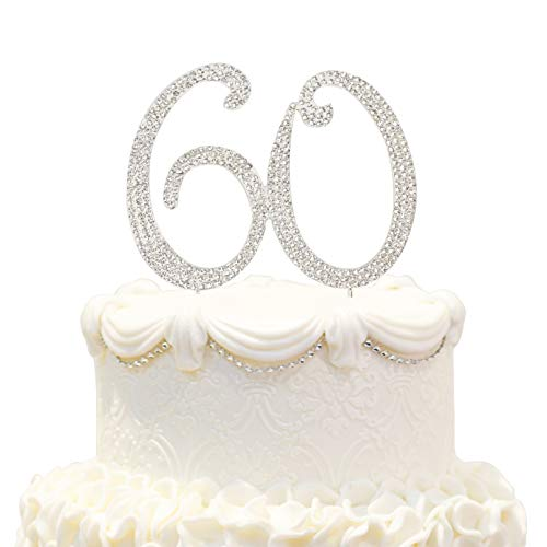 Hatcher lee Bling Crystal 60 Birthday Cake Topper - Best Keepsake | 60th Party Decorations Silver -