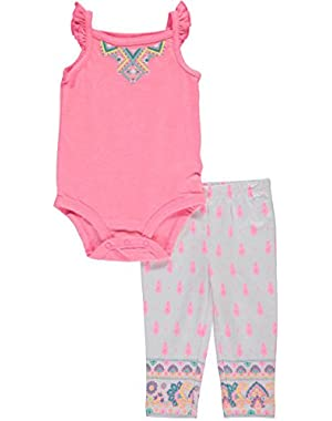Baby Girls' 2-Piece Puff Paint Bodysuit And Leggings Set