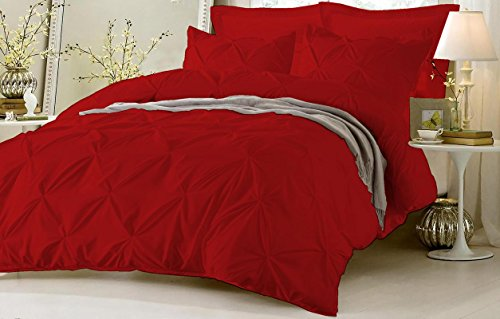 Friends Quilt Set (Pinch Pleated Duvet Cover Set 3 Piece With Zipper & Corner Ties 100% Egyptian Cotton 600 Thread Count Hypoallergenic (1 Duvet Cover 2 Pillow Shams) ( Queen/Full, Blood Red ) by Kotton Culture)