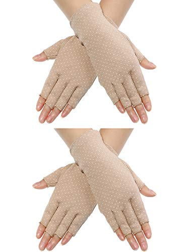 Maxdot 2 Pairs Sunblock Fingerless Gloves Non-slip UV Protection Driving Gloves Summer Outdoor Gloves for Women and Girls (Khaki)