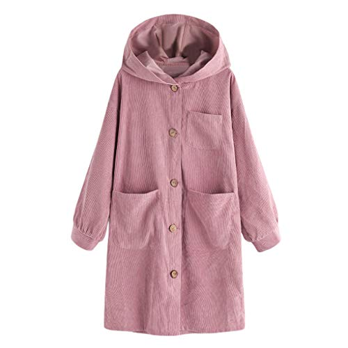- Women Oversize Long Sleeve Button Down Casual Hooded Pocket Jacket Coat Cardigan Single-Breasted with 13-Pocket Loose Coat Pink