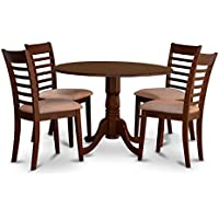 East West Furniture DLML5-MAH-C 5 PC Dublin Kitchen Table Set-Dining Table & 4 Microfiber Upholstery Kitchen Chairs
