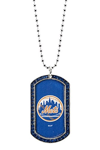 MLB New York Mets Glitter Stone Dog Tag Necklace Base