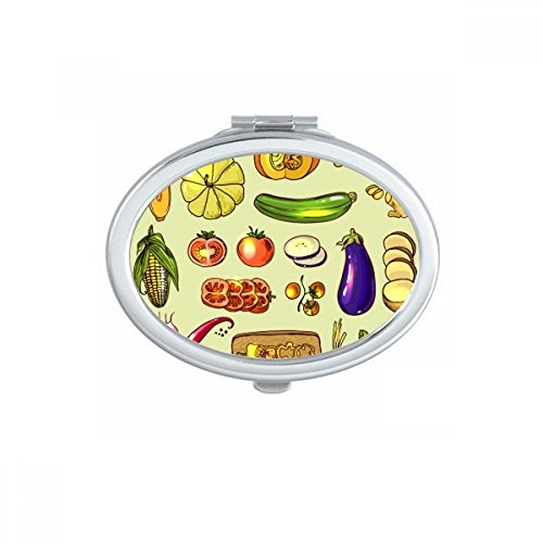 DIYthinker Vegetables Eggplant Pumpkin Ginger Oval Compact Makeup Pocket Mirror Portable Cute Small Hand Mirrors Gift