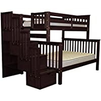 Bedz King Stairway Bunk Beds Twin over Full with 4 Drawers in the Steps, Cappuccino