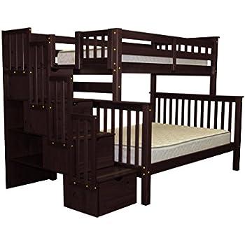 Amazon Com Bedz King Stairway Bunk Beds Twin Over Full