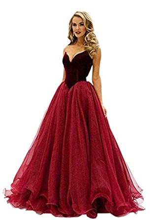 Mollybridal Sweetheart Ball Gown Prom Dresses Evening Dress Velvet Organza Corset Back Simple Dark Red 2