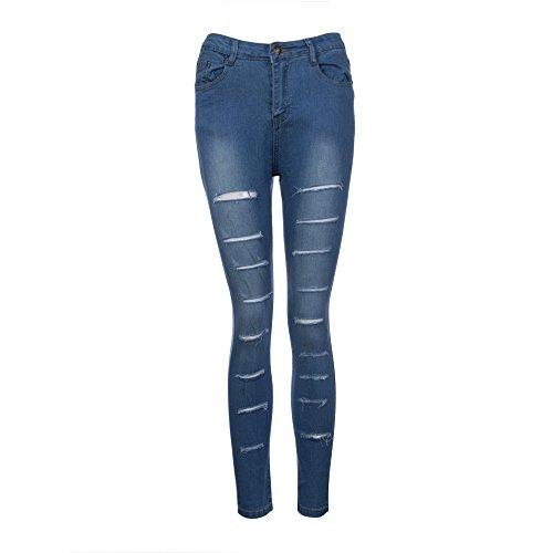 Alta Stretch Pantaloni Denim Moda Strappato jeans Donna Sexy donne Blu Design Buco Vita Skinny Slim Matita Jeans Lqqstore wpHvqCz