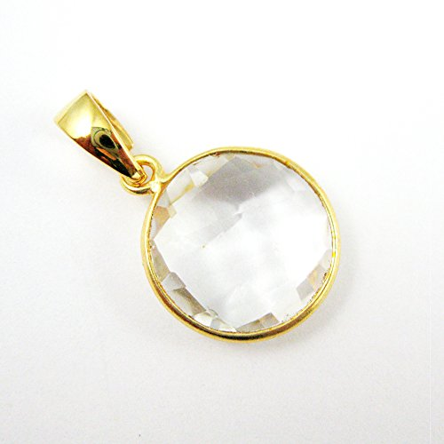 Bezel Gem Pendant with Bail - Crytsal Quartz - 22K Gold plated Vermeil Round Coin Faceted Gemstone ()