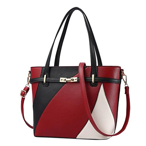 - ❤️Women Shoulder Bag, Neartime Hot New Fashion 2018 Handbag Tote Patent PU Leather Embossed wallets (free, Red)