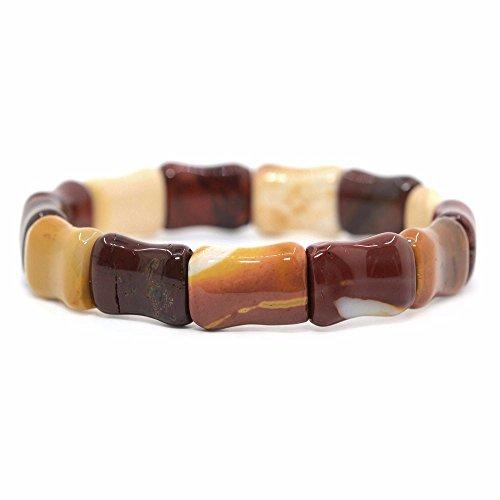 Natural Mookaite Jasper Gemstone Bamboo Joint Beads Elastic Stretch Bracelet 7