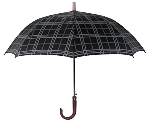 leighton-46-inch-auto-open-stick-umbrella-gray-plaid-cherry-wood-crook-handle-one-size
