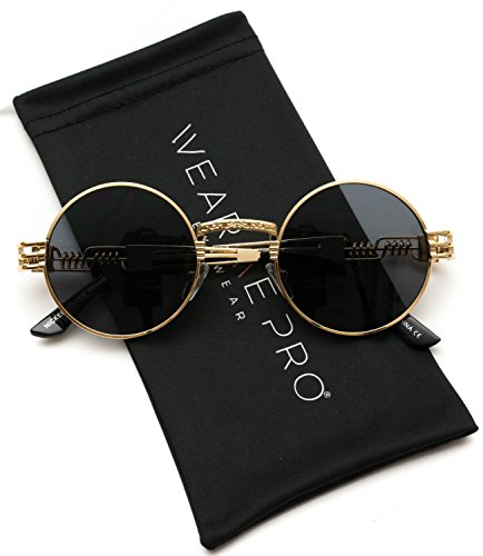 WearMe Pro - Metal Frame Retro Round Clear Lens Glasses (Gold Frame/Black Lens, ()