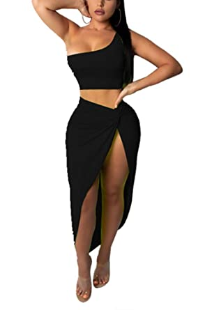 7897886a74e Womens Sexy 2 Pieces Stripe Printed Crop Tops Bodycon Split Skirts Party  Clubwear Dress Outfits Set