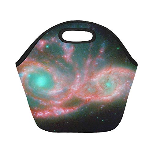 Ngc Light - Insulated Neoprene Lunch Bag Ngc 2207 Spiral Galaxy Light Year Gravitation Large Size Reusable Thermal Thick Lunch Tote Bags For Lunch Boxes For Outdoors,work, Office, School
