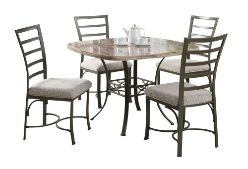 ACME 70057SQWH Val 5-Pack Square Dining Set, White Faux Marble Top