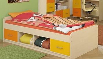 Bett Kinderbett Funktionsbett P5T55F09 Kinderzimmer ahorn gelb ... | {Funktionsbett kinderzimmer 84}