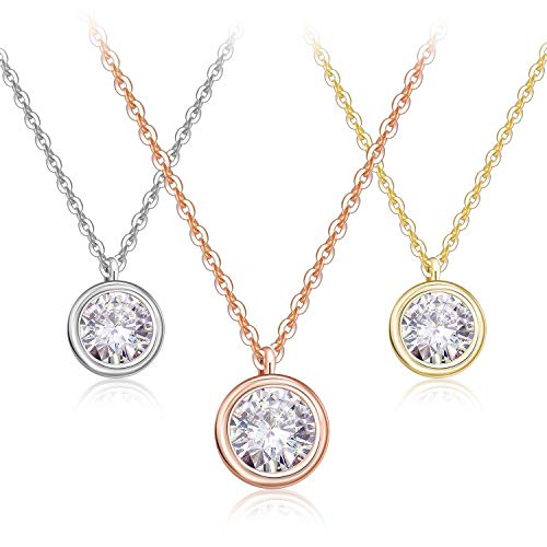 ZRO 3-Pack AAA CZ Necklaces with Gift Box, Round Cut Cubic Zirconia Crystals Pendant Chocker Necklace for Girls and Women