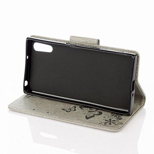 Yiizy Sony Xperia XZ F8332 Custodia Cover, Farfalla Fiore Design Sottile Flip Portafoglio PU Pelle Cuoio Copertura Shell Case Slot Schede Cavalletto Stile Libro Bumper Protettivo Borsa (Grigio)
