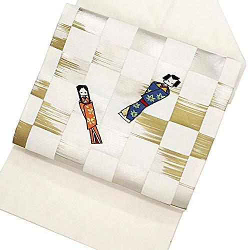 くつろぎ余裕がある雄弁家名古屋帯 正絹 着物 きもの 帯 折り紙人形 リサイクル 和服【中古】 90001507