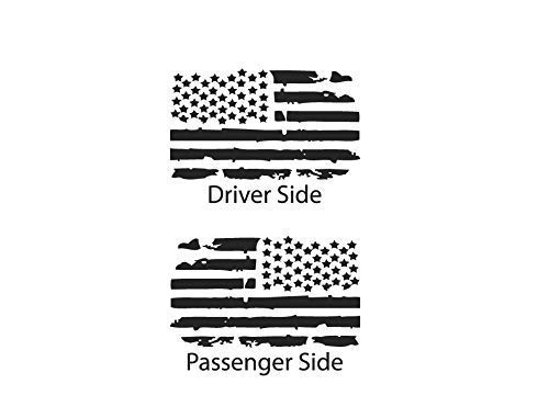 Toyota Tacoma USA Flag Decals in Matte Black for side windows fits 2nd Generation 2005-2015 TP2A