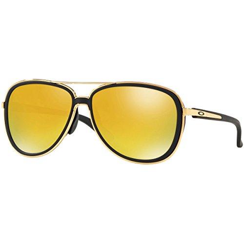 Oakley Women's OO4129 Split Time Aviator Metal Sunglasses, Velvet Black/24K Iridium, 58 mm