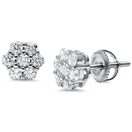 (8mm Cluster Earrings 7-Stone Round Cubic Zirconia 925 Sterling Silver Screwback Flower Stud Earring)