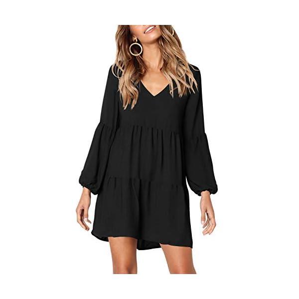Women Summer Tunic Dress V Neck Casual Loose Flowy Swing Shift Dresses