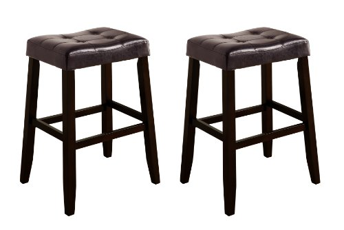 Crown Mark 2987 Kent Saddle Chair, Espresso, 2 Per Box