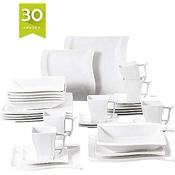 Amazon.com: Malacasa - Vajilla de porcelana, platos de ...