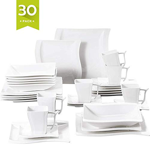 Malacasa 30 Pieces Dinnerware Set Square Dishes White; Includes 6 Dinner Plates 6 Soup Plates 6 Dessert Plates, 6 Mugs and 6 Saucers, Service for 6 Series Flora (Square Porcelain Plates)