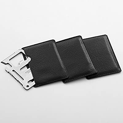 QLL 11 in 1 Beer Opener Survival Card Tool Fits Perfect in Your Wallet, Silver&Red&Black