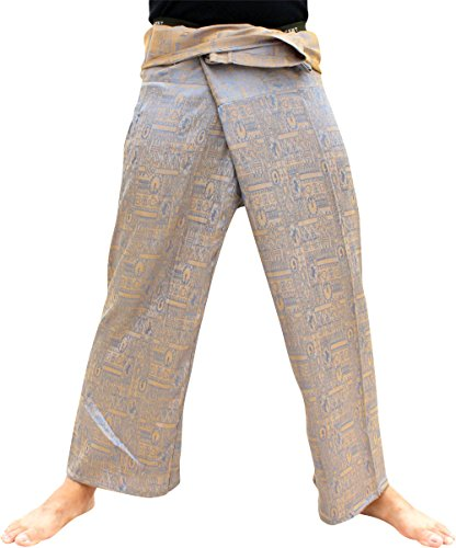 RaanPahMuang Brand Textured Silk Thai Fisherman Wrap Pants, Medium, Blue Yellow