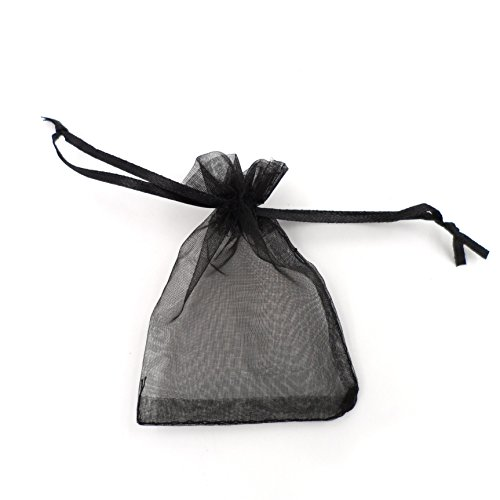Black Wedding Favors - ATCG 100pcs 3x4 Inches Drawstring Organza Pouches Wedding Party Jewelry Favor Gift Candy Bags (Black)