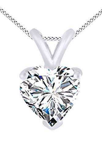 AFFY Round Cut White Natural Diamond Mom Heart Pendant Necklace in 14K Gold Over Sterling Silver 0.01 Cttw