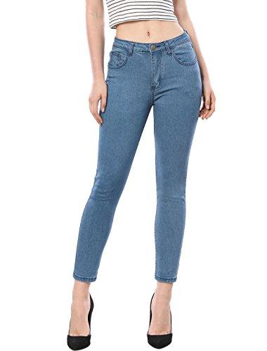 - Allegra K Women's Mid Waist Zip Fly Pockets Skinny Fit Jean Pants S Blue