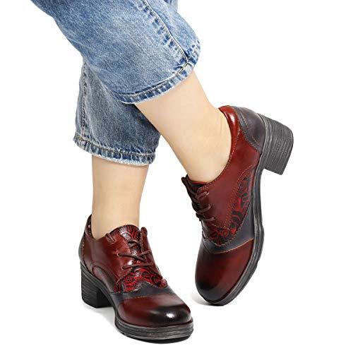 gracosy Weinrot Schuhe auf Absatz Retro Schuhe Bootsschuhe Slip Bequeme Handarbeit Echtes Loafer Herbst Frühling Casual Komfort mit Pumps Wanderschuhe Lace 2019 Damen Mokassin Leder up Flache vFIvqrx4H