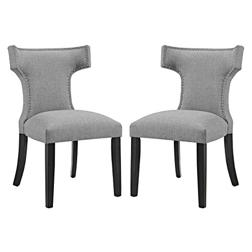 Modway Curve Mid-Century Modern Upholstered Fabric Two Dining Chair Set With Nailhead Trim In Light (Nailhead Trim Living Room)