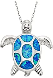 """Sterling Silver Created Opal Turtle Pendant with 18"""" Chain"""