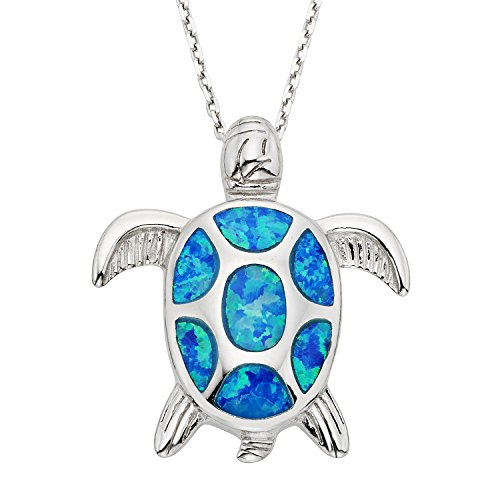 Beaux Bijoux 925 Sterling Silver Created Blue Opal Nautical Sea Turtle Pendant Necklace 18