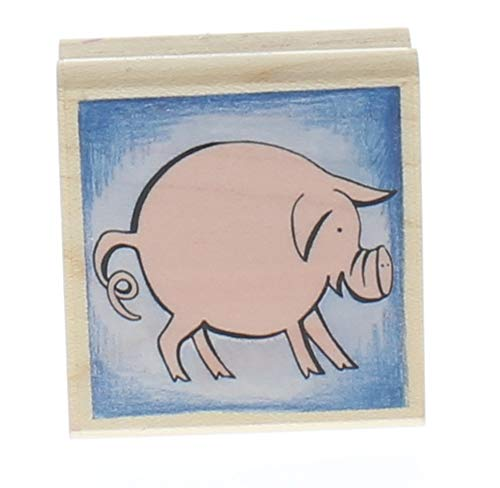 Rubber Stampede Round little Pig Piggly Wiggly Wooden Rubber Stamp ()