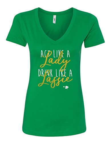 T-shirt V-neck Womens Irish - St. Patrick's Day Act Like A Lady Drink Like A Lassie Funny Drinking Women's V-Neck T-Shirt XXL/Junior Fit/Kelly Green