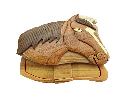 Horse Head Stables Hand-Carved Puzzle Box with No Paints! No Stains! Hidden Felt Lined Interior That hides Jewelry, Gift Cards, or Money. No Two Will Ever be Identical! Pet Carvers ()
