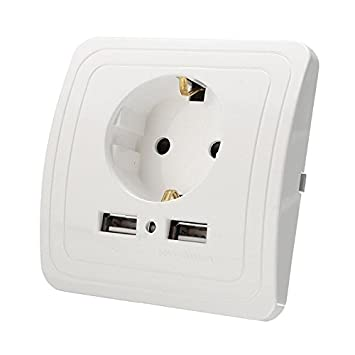 Merssavo UE Enchufe de Pared USB Cargador 2 Puertos Universal Cargador de Pared Adaptador para iPhone iPad Dispositivo Eléctrico: Amazon.es: Bricolaje y ...