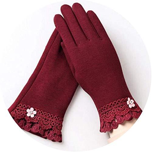 Women's Winter Gloves Cashmere Thin Wrist Gloves Warm Cashmere Mittens Female Gloves,G146016Bjujubered,OneSize