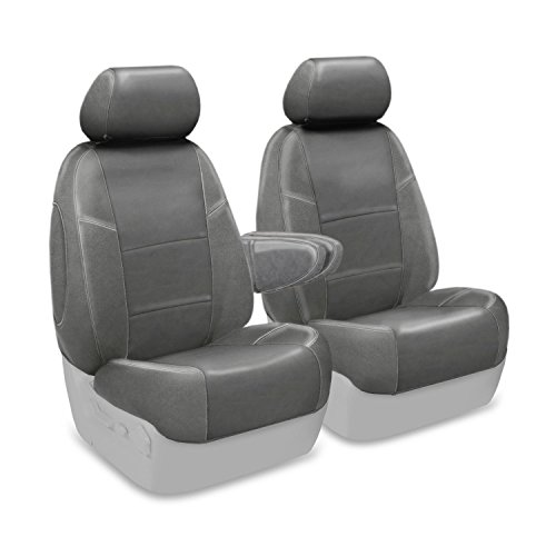Coverking Custom Fit Front 50/50 Bucket Seat Cover for Select Lincoln Town Car Models - Genuine Leather (Gray) ()